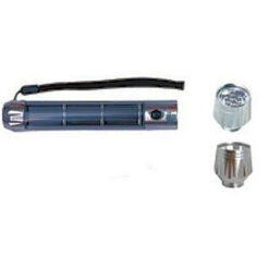 6.25x1-inch aluminum body solar panel flashlight with interchangeable 90lm spot and 28lm flood flashlight heads.
