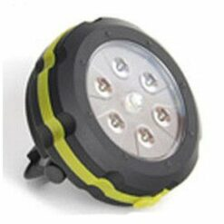 Hockey puck size capacitor lantern. 7 LED cluster provides spot and floodlight illumination.