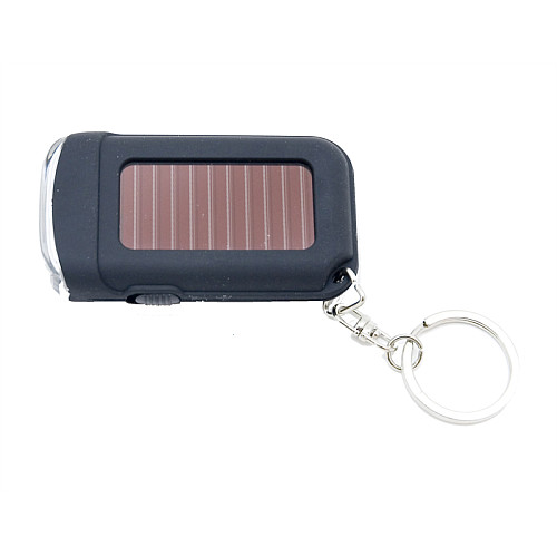 Compact 2.7x1.5x.63-inch keychain flashlight. Top solar panel with 2 front LEDs.