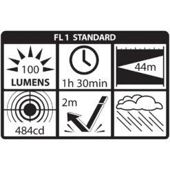 Mini-Tac MT100 Tactical Flashlight - NightStick - ANSI Chart