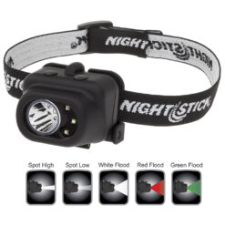 2x2.6x2-inch polymer LED headlamp, spotlight + white, red, green LED floodlight, Dual Light, ratcheted beam settings, 3 AAA