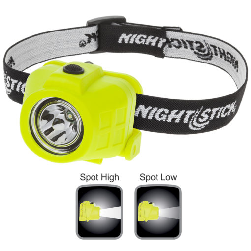 2.5x2x2-inch polymer LED headlamp, waterproof, high-low beam spotlight, single body switch, 60-40lm white LED, 3 AAA
