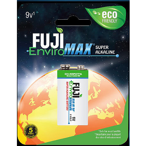 Fuji EnviroMax 9 Volt Batteries, 4600BP1 and 4600MP6, Case qtys 48 to 288 cells. Use in low, medium and high drain electronics.