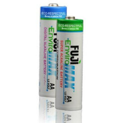 Fuji Enviromax AA size alkaline batteries, case quantities 96 to 576 cells. Blister packs 2, 4, 8, 24 and 48 units.