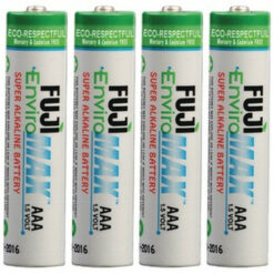 Fuji Enviromax AAA size alkaline batteries, case quantities 96 to 576 cells. Blister packs 2, 4, 8, 24 and 48 units.
