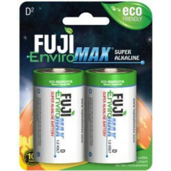 Fuji Enviromax D size alkaline batteries, case quantities 96 cells. Blister packs 2, 4 and 12