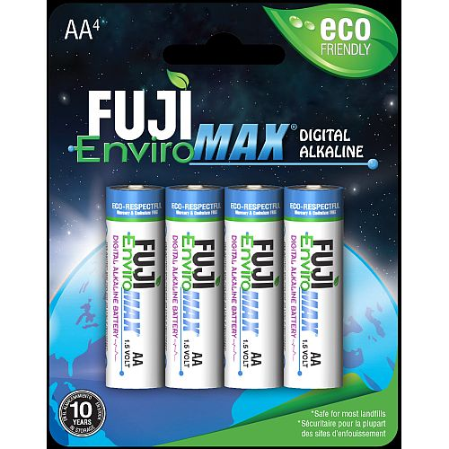 Digital AA Fuji alkaline batteries, blister packaging, sold in case quantities of 192 cells. Use in High Drain electronics.