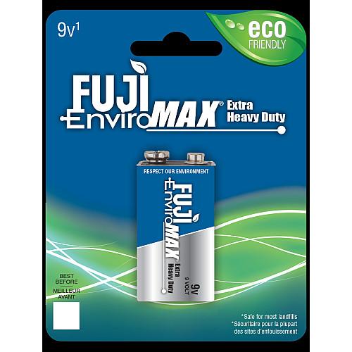 Fuji carbon-zinc 9V size battery case quantities 48 cells. Blister pack 1 unit.