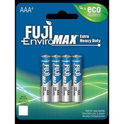 Fuji carbon-zinc AAA size battery, case quantities 192 cells. Blister pack contains 4 batteries.