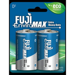 Fuji carbon-zinc D size battery case quantities 96 cells. Blister pack contains 2 batteries.
