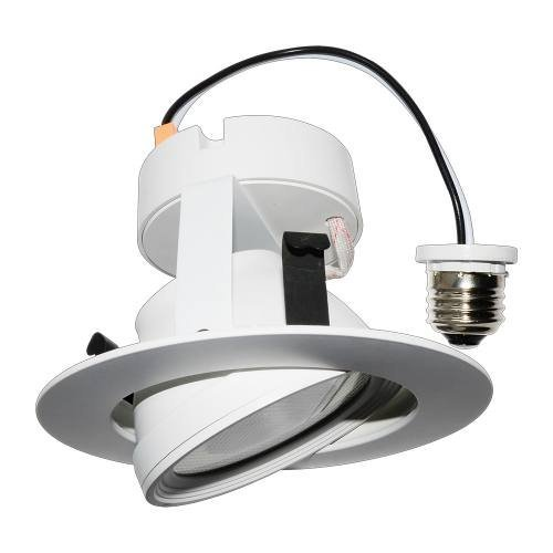 Adjustable 5 inch round thermoplastic downlight can swivel providing spotlight illumination.