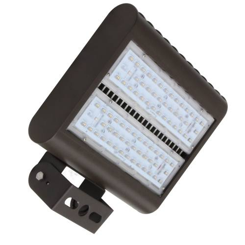 13x10 inch 80W LED flood-street area light, aluminum housing, heat resistant PC lens. Ground and elevated installations.
