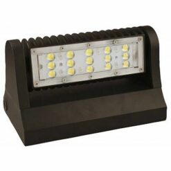 9x6x6 inch 25W LED Full cutoff Wall Pack light, aluminum housing and PC lens. Adjustable beam positioning. DLC Premium.