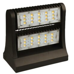9x6x9 inch 60W LED Full cutoff Wall Pack light, aluminum housing and PC lens. Adjustable beam positioning. DLC Premium.