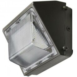 14x8x9 inch 100W LED Semi-cutoff Wall Pack light. Bronze powder coated aluminum body with PC fluted lens.