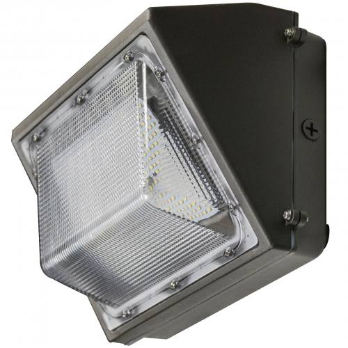 "LEDWP80SN semi-cutoff wall pack, 80W, 14""x8"" aluminum housing with PC lens."