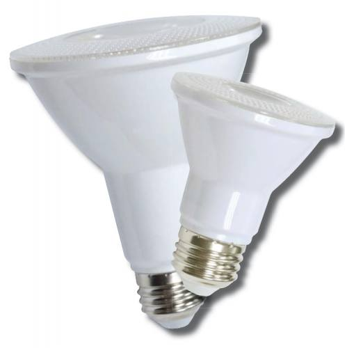 PAR 9W dimmable light bulb. Large rounded parabolic reflector end tapers to a smaller A-26 Edison screw base.