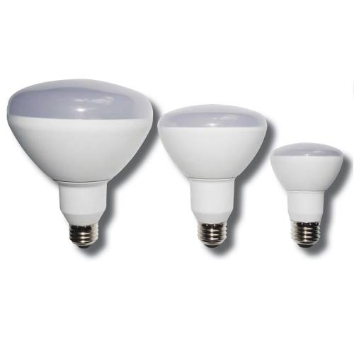 BR style 7W dimmable light bulb has a large rounded light emitting end that tapers to a smaller A-26 Edison screw base.