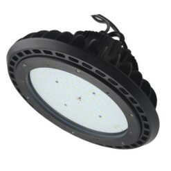 Black UFO saucer shape 100W LED high bay light measuring 12x12x7 inches, weighs 8.4lbs. PC lens.