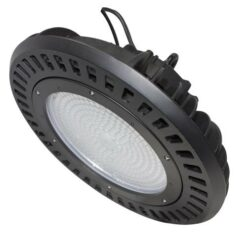 Black UFO saucer shape 240W LED high bay light measuring 14x14x8 inches, weighs 12.1lbs. PC lens.