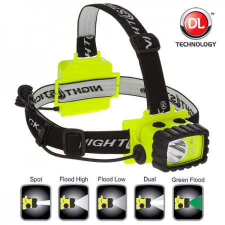 XPP-5458G Intrinsically Safe Headlamp, waterproof polymer body, spot-floodlight-dual light, white-green LED, single switch