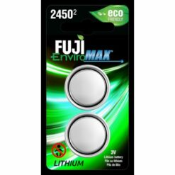 Fuji Battery CR2450, Two-coin size Li-Ion cells in blister packaging