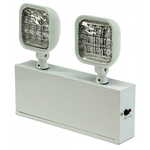 LEDSDXR627 LED Safety Light, Two 1W Lamps, PbAc battery powers satellite fixtures, Steel body.